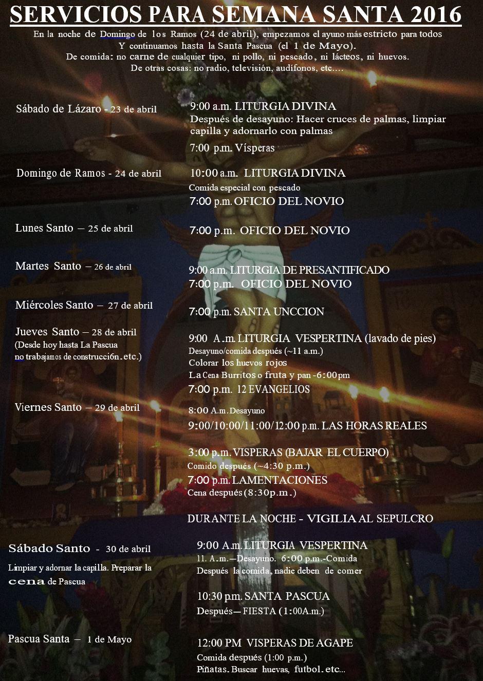 Semana Santa Calendario 2016